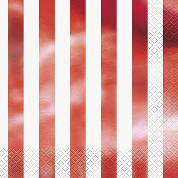 Red Metallic Striped Napkins
