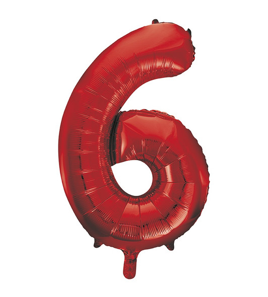 Red Number 6 Balloon