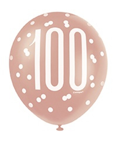 Rose Gold 100th Balloons