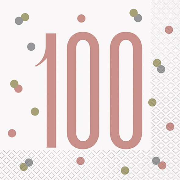 Rose Gold 100th Napkins