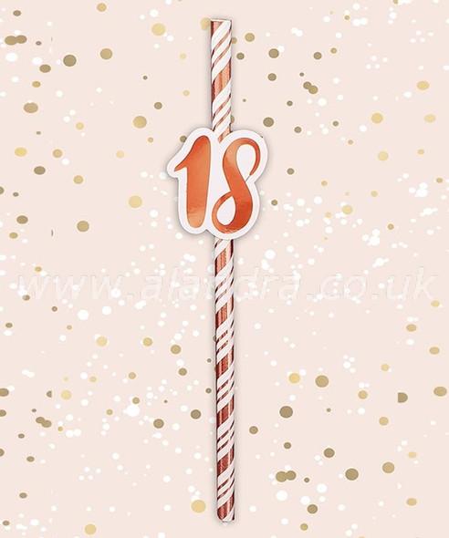 Rose Gold 18th Birthday Straws
