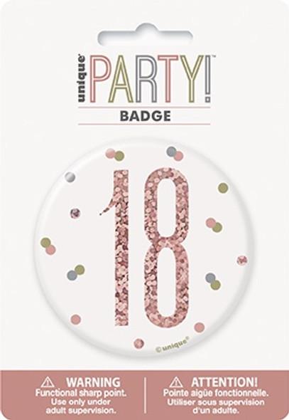 Rose Gold 18th Badge