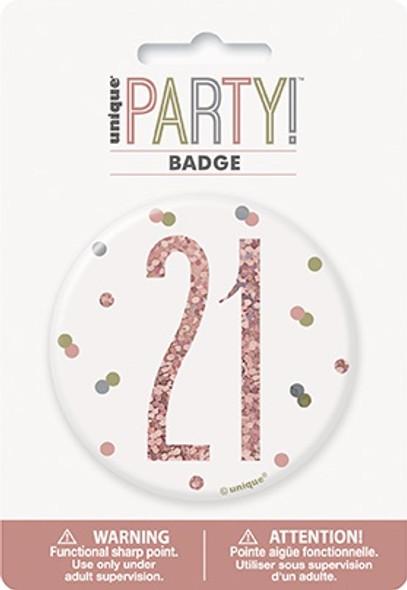 Rose Gold 21st Badge