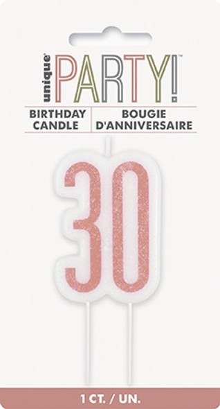 Rose Gold 30th Candles