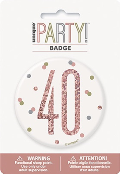 Rose Gold 40th Badge