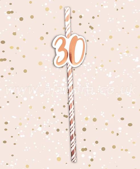 Rose Gold 30th Birthday Straw