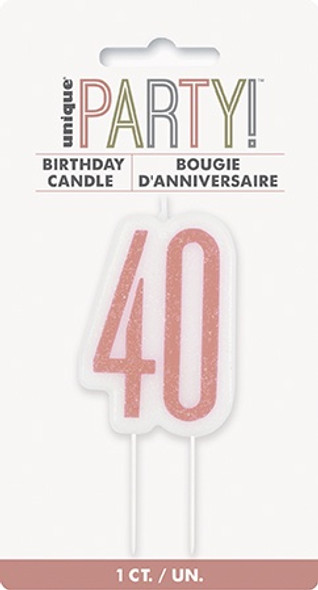 Rose Gold 40th Candle
