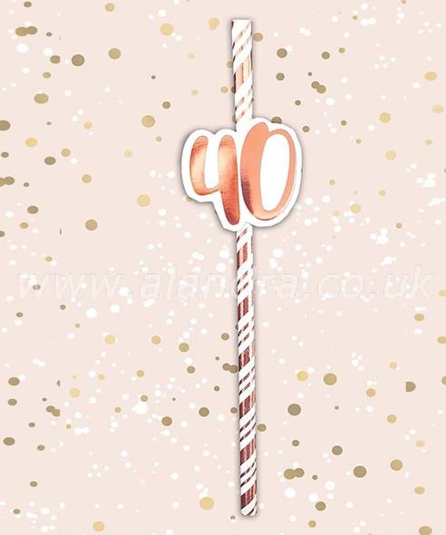 Rose Gold 40th Birthday Straws