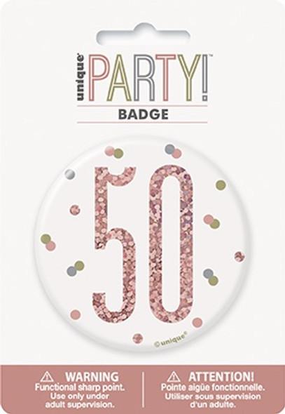 Rose Gold 50th Badge