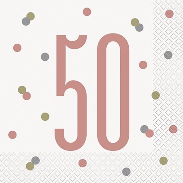 Rose Gold 50th Napkins