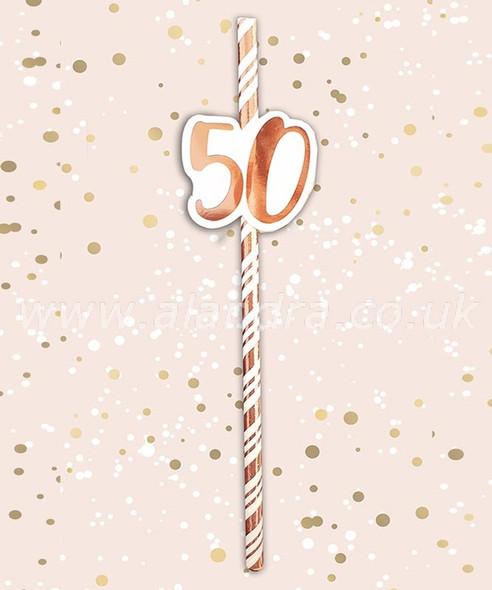 Rose Gold 50th Birthday Straws