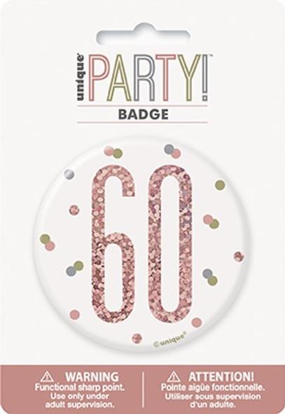 Rose Gold 60th Badge