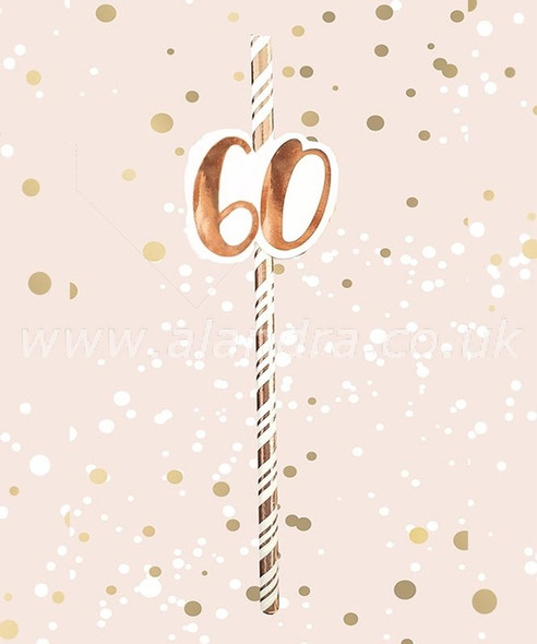 Rose Gold 60th Birthday Straws