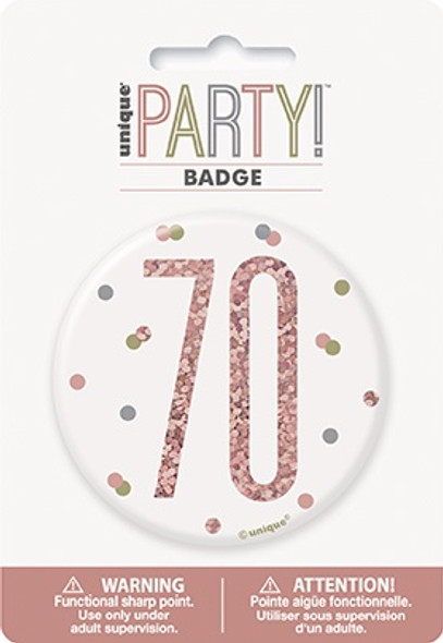 Rose Gold 70th Badge