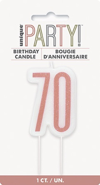 Rose Gold 70th Candle