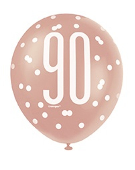 Rose Gold 90th Balloons
