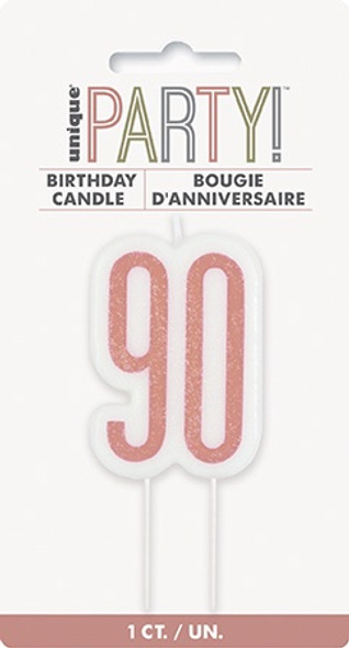 Rose Gold 90th Candle