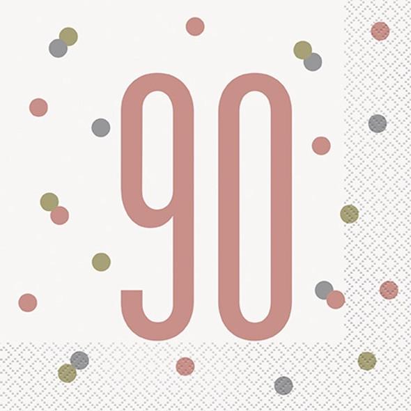 Rose Gold 90th Napkins