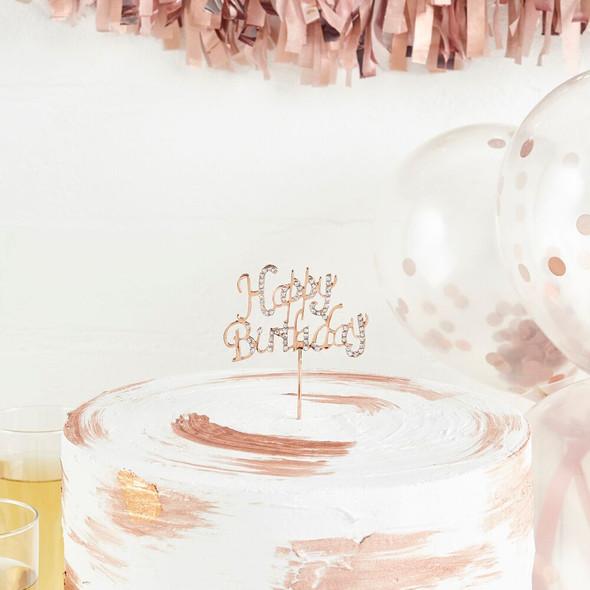 Rose Gold Birthday Cake Topper