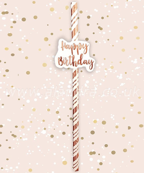Rose Gold Happy Birthday Straw