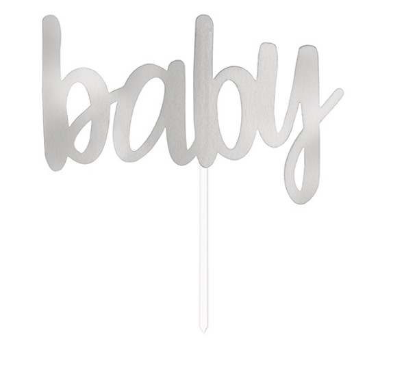 Silver Baby Cake Topper