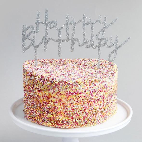 Silver Birthday Cake Topper