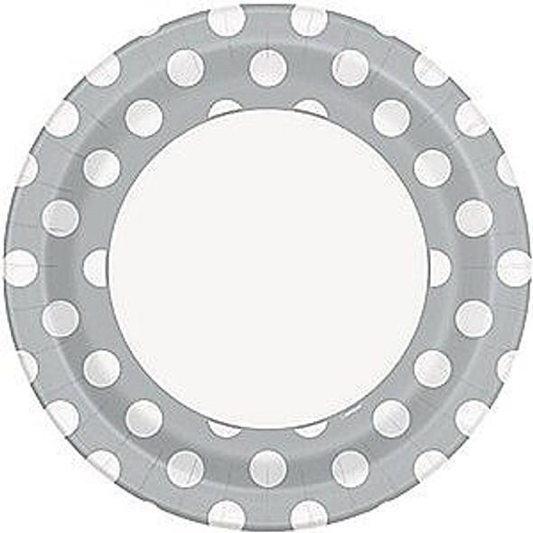 Silver Dots Plates