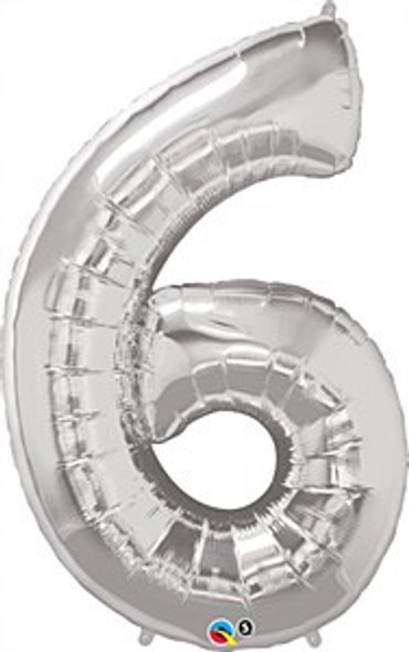 Silver Number 6 Balloon