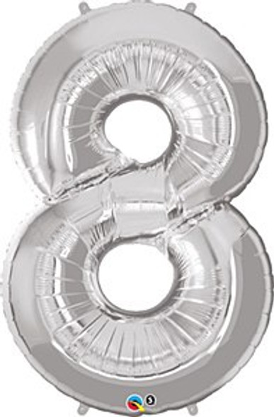Silver Number 8 Balloon