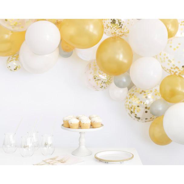 Gold, Silver & White Balloon Arch Kit