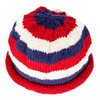 Top view of rolled brim cap in red/white/blue