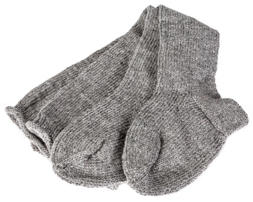 18th century hand knit stockings - 2 ply gray