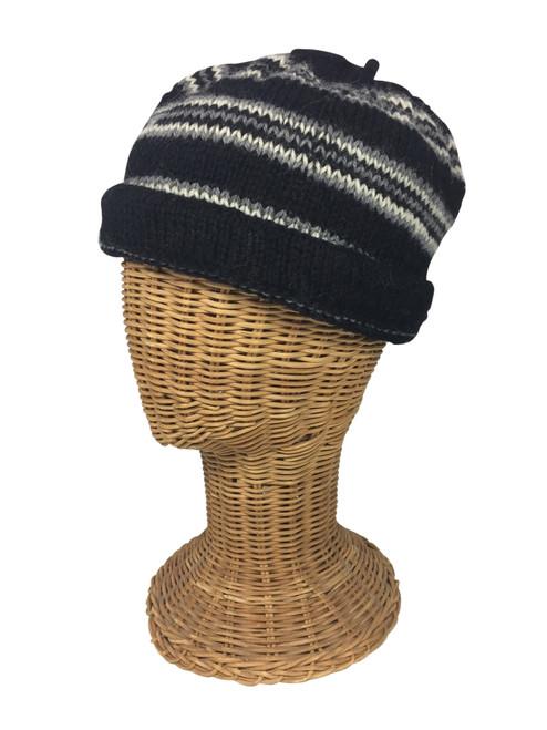 Black/Natural White/Gray striped cap