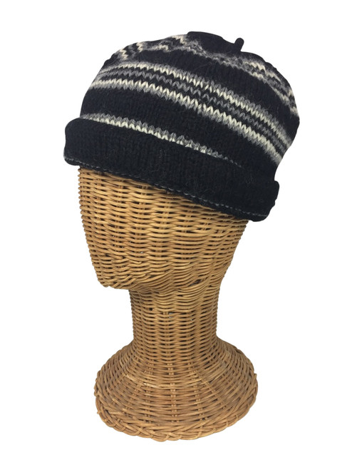 Black/Natural White/Gray striped cap