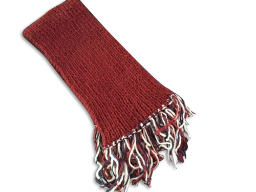 Handknit Scarf - Solid color with multi colored fringe