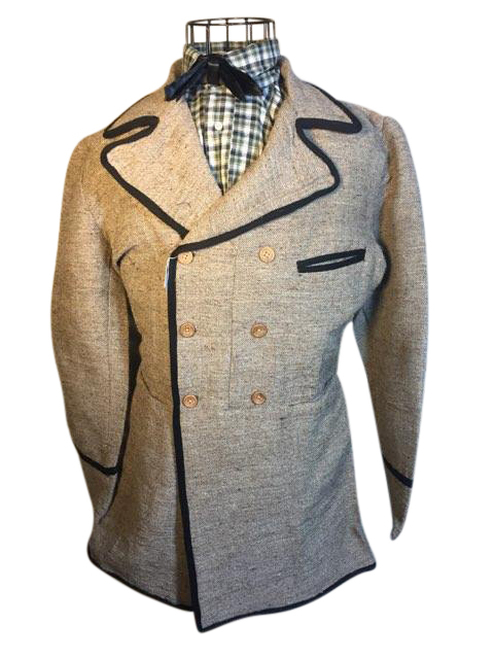 Double breasted frock coat, gray jeans cloth with black tape trim