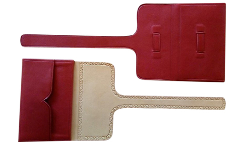 Embossed Wallet - red Moroccan Leather