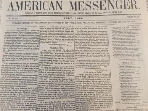 American Messenger Newspaper, July 1862 edition