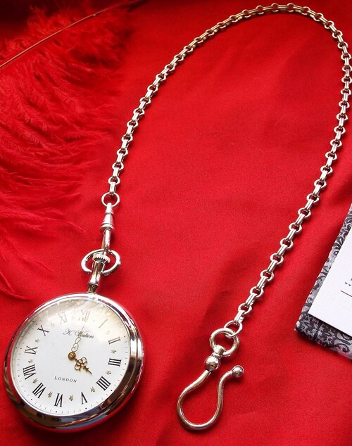 Silver plated pocket watch chain
