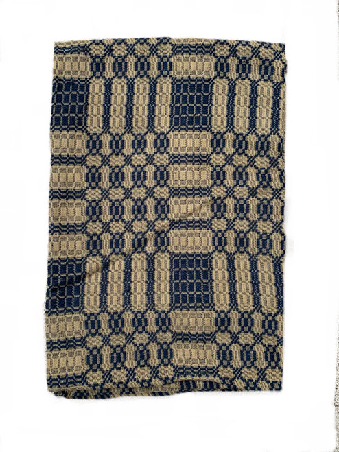 Blue and tan coverlet