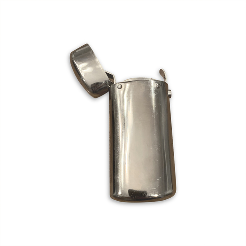 Silver plated match safe, open