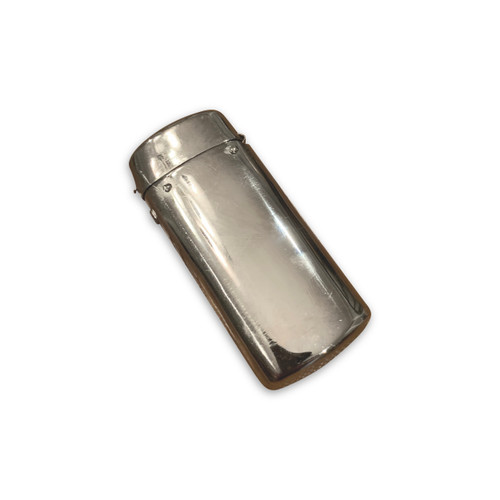 Silver plated match safe, closed