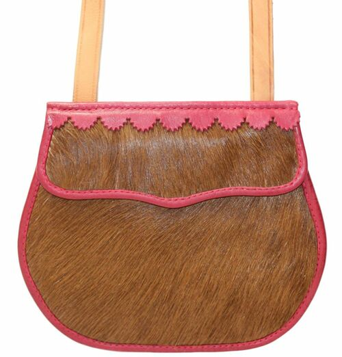 18th/Early 19th Century Hair On with Red Moroccan Trim Shot pouch