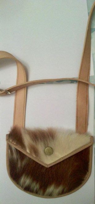 Hair on bag shot bag with pointed flap - alum tanned goat