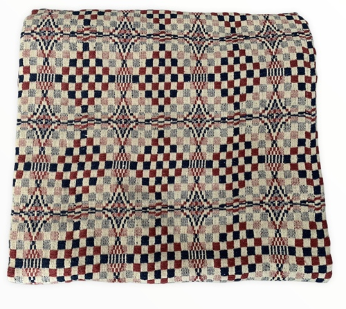 Blue/Tan/Red Coverlet - Checkerboard designs