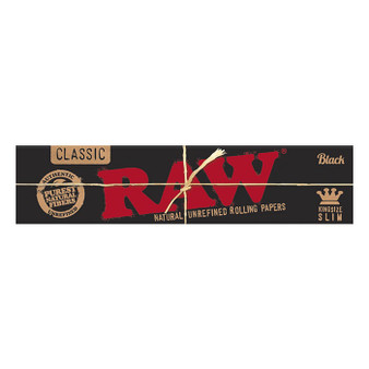 RAW Classic Black Papers Kingsize Slim 32 Leaves/Pack - Box of 50