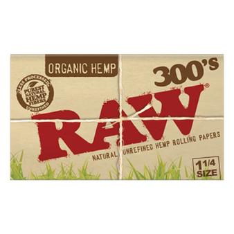 RAW Organic Hemp Creaseless Papers 1-1/4'' 300 Leaves/Pack - Box of 40