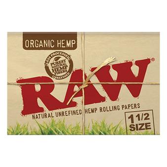 RAW Organic Hemp Papers 1-1/2 33 Leaves/Pack - Box of 25