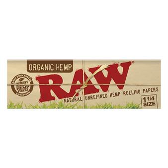 RAW Organic Hemp Papers 1-1/4'' 50 Leaves/Pack - Box of 24