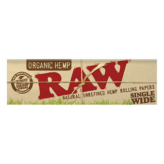 RAW Organic Hemp Papers Single Wide 50 Leaves/Pack - Box of 25